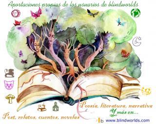 De un libro abierto emergen 5 árboles vivientes formando un bosque animado...