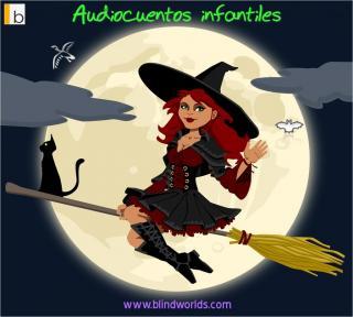 Una hermosa bruja en su escoba y su gato y la luna llena de fondo