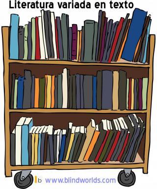 Una estantería con ruedas repleta de libros
