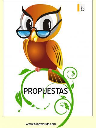 """Un inteligente búo con gafas posa sobre una rama con la palabra """"Propuestas"""""""