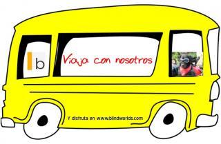 """Un autobús de color amarillo con la leyenda: """"Viaja con nosotros"""" blindworlds"""